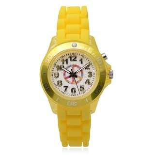 Geneva Platinum Kids' Peace Light Up Round Face Silicone Band Watch