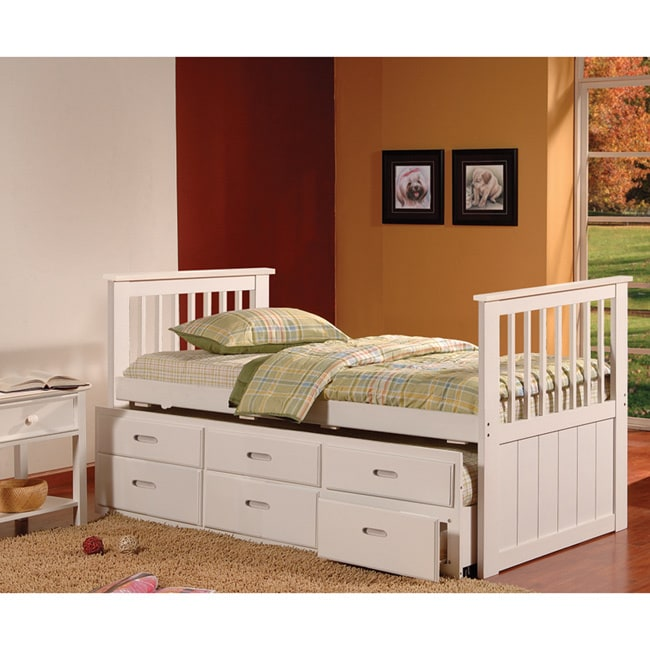 K & B White Twin-Size Spindle Captain Bed (White Captain ...