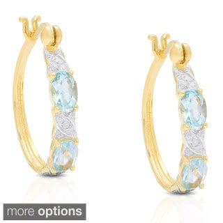 Dolce Giavonna Goldplated Sterling Silver Gemstone and Diamond Accent XO Hoop Earrings
