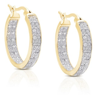 Finesque Sterling Silver 1/2ct TDW Diamond Accent Hoop Earrings