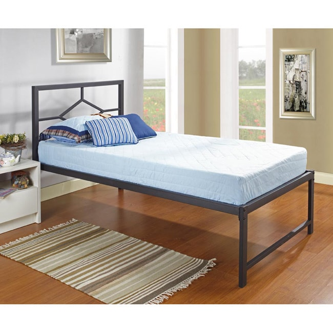 K&B Twin-size Metal Bed with Pop Up Trundle (Black Twin P...
