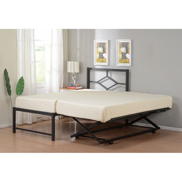 K B Twin Size Metal Bed With Pop Up Trundle Free
