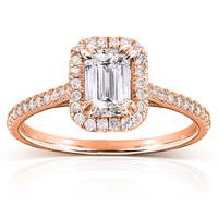 Annello by Kobelli 14k Rose Gold 1 1/3ct TDW Emerald-cut Diamond Halo Engagement Ring