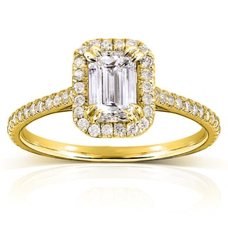 Annello by Kobelli 14k Yellow Gold 1 1/3ct TDW Emerald-cut Diamond Halo Engagement Ring