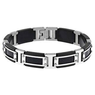 Stainless Steel Black Ion-plated Carbon Fiber Link Bracelet
