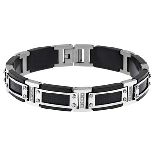 Stainless Steel Cubic Zirconia and Carbon Fiber Accent Bracelet