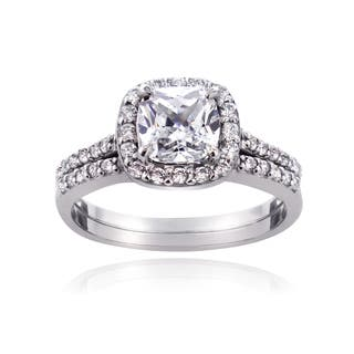 ICZ Stonez Sterling Silver 2 7/8ct TGW Cubic Zirconia Cushion-cut Bridal Engagement Ring Set|https://ak1.ostkcdn.com/images/products/9576613/P16765848.jpg?impolicy=medium