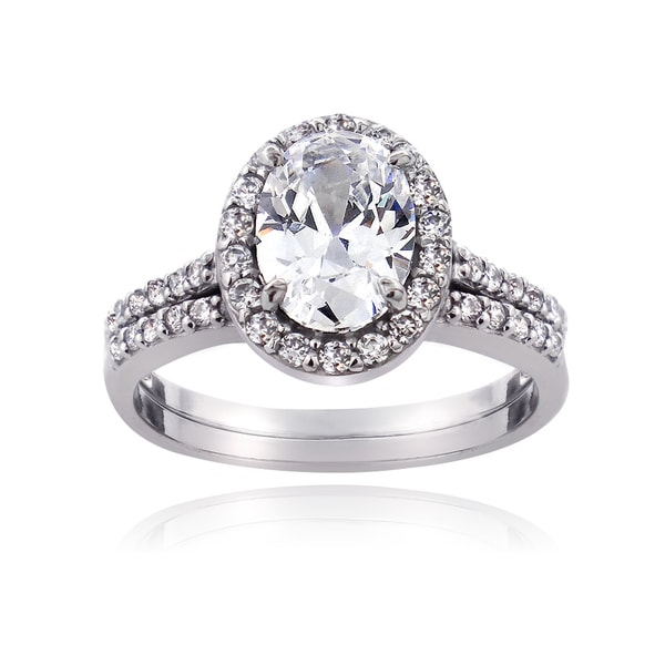 icz stonez sterling silver cubic zirconia oval cut bridal engagement ring set - Cubic Zirconia Wedding Ring Sets