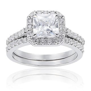 Sterling Silver Cubic Zirconia Princess Halo Bridal Engagement Rings - White