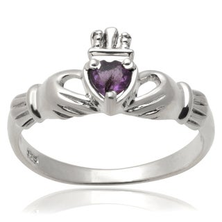 Journee Collection Sterling Silver Gemstone Claddagh Ring