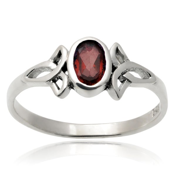 Journee Collection Sterling Silver Gemstone Celtic Knot Ring
