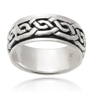 Vance Co. Men's Sterling Silver Celtic Spinner Band (10 mm)