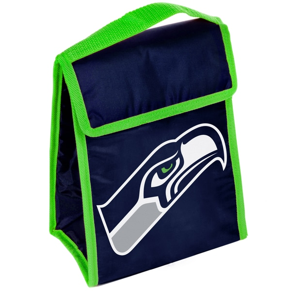 Forever Collectibles Seattle Seahawks Big Logo Hook and Loop Lunch Bag