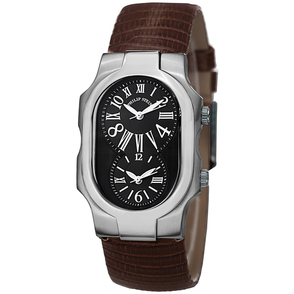 Women's  'Signature' Black Dial Brown Leather Strap Dual Time Quartz Watch - Philip Stein 1-MB-ZBR