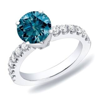 Auriya 14k Gold 1ctw Round Blue Diamond Engagement Ring