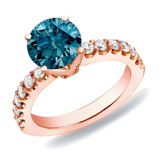 Auriya 14k Rose Gold 1ct TDW Blue Round Diamond Solitaire Engagement Ring