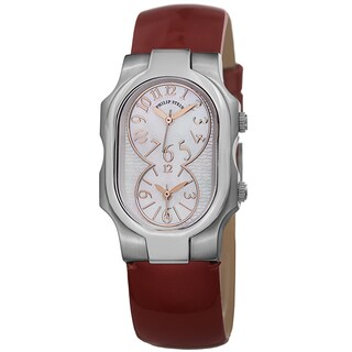 Philip Stein Women's 1-MOPG-LR 'Signature' Mother of Pearl Dial Red Patent Leather Strap Quartz Watch