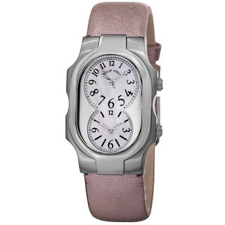 Philip Stein Women's 1-NFMOP-CMLA 'Signature' Mother of Pearl Dial Pink Metallic Leather Strap Watch