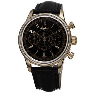 Alpina Men's AL-860B4H5 '130 Heritage' Black Dial Black Leather Strap Chronograph Watch