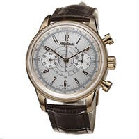 Alpina Men's AL-860S4H5 '130 Heritage' Silver Dial Brown Leather Strap Chronograph Watch