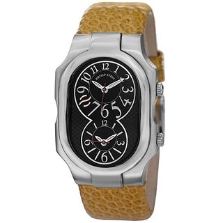 Philip Stein Men's 'Signature' Black Dial Mustard Leather Strap Dual Time Watch