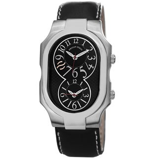 Philip Stein Men's 2-BK-CSTB 'Signature' Black Dial Black Leather Strap Dual Time Quartz Watch
