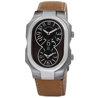 Philip Stein Men's 2-BRN-CSTC 'Signature' Brown Leather Strap Dual Time Quartz Watch