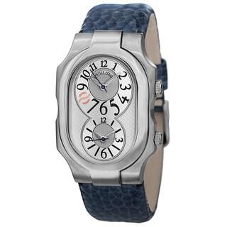 Philip Stein Men's 'Signature' Silver Dial Blue Leather Strap Dual Time Quartz Watch