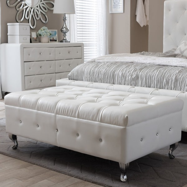 Baxton studio brighton button tufted upholstered modern bedroom bench in white free shipping White upholstered bench