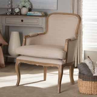 Baxton Studio Napoleon Traditional French Accent Chair in Brown Oak Finish
