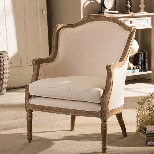 Superbe Traditional French Biege Fabric Accent Chair By Baxton Studio