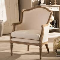 Traditional French Biege Fabric Accent Chair by Baxton Studio