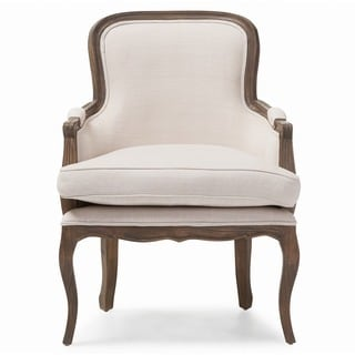 Baxton Studio Napoleon Traditional French Accent Chair in Brown Ash wood finish