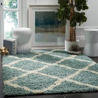 Safavieh Dallas Shag Light Blue/ Ivory Trellis Rug - 6' x 9'