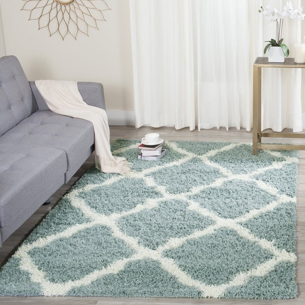 Safavieh Dallas Shag Light Blue Ivory Trellis Rug 6 X