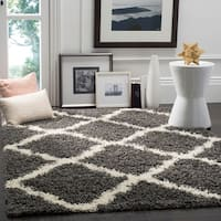 Safavieh Dallas Shag Dark Grey/ Ivory Trellis Rug (6' x 9')