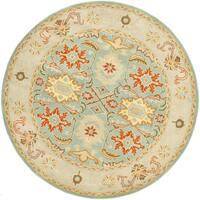 Safavieh Handmade Heritage Timeless Traditional Light Blue/ Ivory Wool Rug - 9' Round