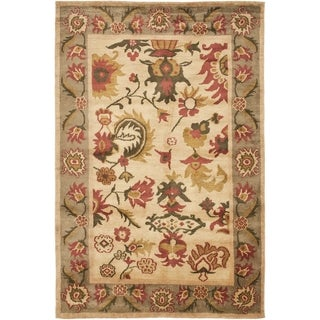 Safavieh Hand-knotted Ancient Weave Ivory/ Sage Wool Rug (6' x 9')