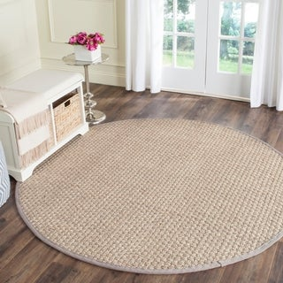 Safavieh Casual Natural Fiber Natural and Grey Border Seagrass Rug (8' Round)