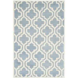 Safavieh Handmade Moroccan Chatham Blue/ Ivory Wool Rug (2'3 x 5')