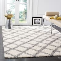 Safavieh Dallas Shag Ivory/ Grey Trellis Rug - 6' Square