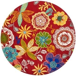 Safavieh Indoor/ Outdoor Four Seasons Red Rug (8' Round)