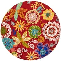Safavieh Hand-Hooked Four Seasons Red/ Multicolored Polyester Rug - 8' X 8' Round