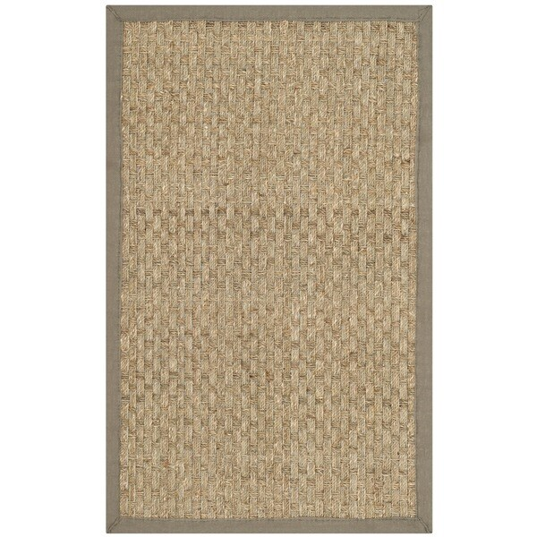 Safavieh Casual Natural Fiber Natural and Grey Border Seagrass Rug (2'6 x 4')