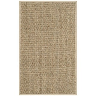 Safavieh Casual Natural Fiber Natural and Ivory Border Seagrass Rug - 2'6 x 4'