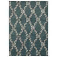 Rug Squared Wellesley Aqua Graphic Area Rug (9'3 x 12'9) - 9'3 x 12'9