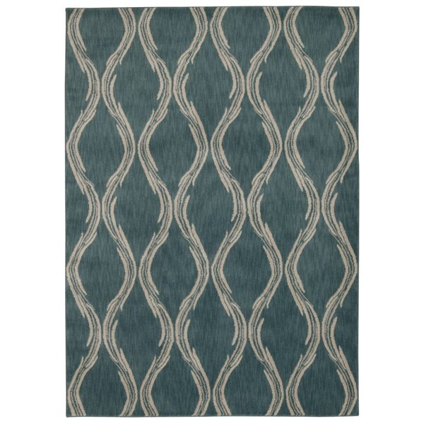Rug Squared Wellesley Aqua Graphic Area Rug (7'9 x 10'10)