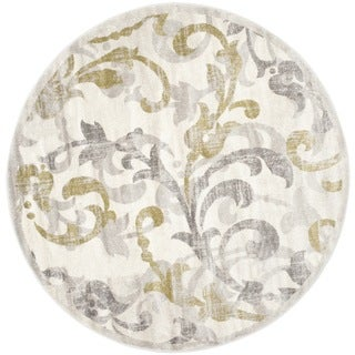 Safavieh Indoor/ Outdoor Amherst Ivory/ Light Grey Rug (7' Round)