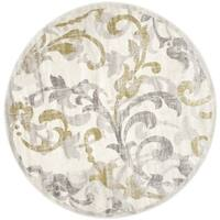 Safavieh Indoor/ Outdoor Amherst Ivory/ Light Grey Rug - 7' x 7' Round