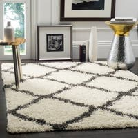 Safavieh Dallas Shag Ivory/ Dark Grey Trellis Rug - 5'1 x 7'6